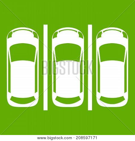 Car parking icon white isolated on green background. Vector illustration