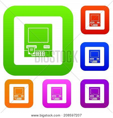 ATM bank cash machine set icon color in flat style isolated on white. Collection sings vector illustration
