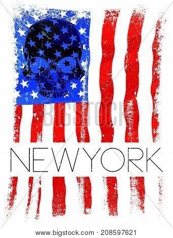 Newyork fashion tee typography graphic design usa flag