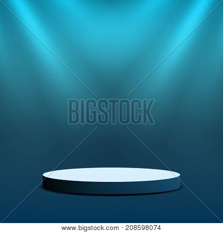 Empty Stage Podium. Round Stage With Lighting For Awards Ceremony, Stand Up Show, Performance