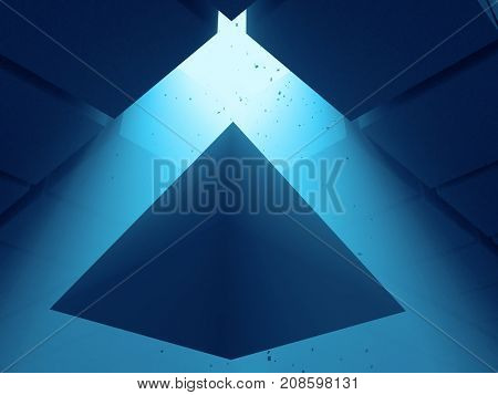 pyramid in the dark, 3d illustration