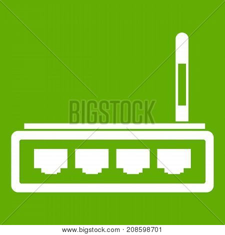 Router icon white isolated on green background. Vector illustration