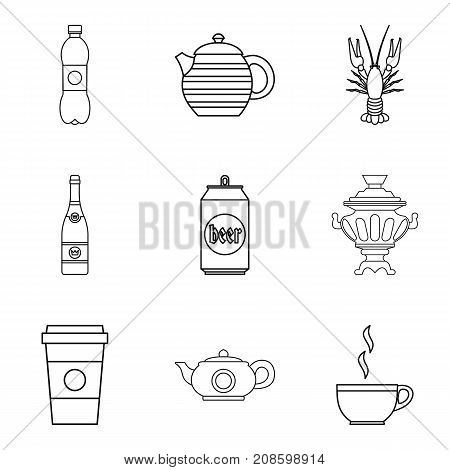 Take away drink icons set. Outline set of 9 take away drink vector icons for web isolated on white background