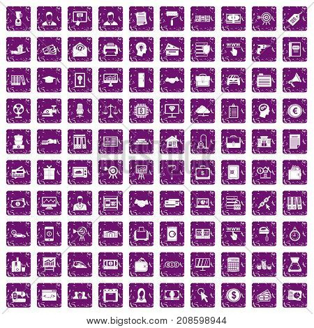 100 lending icons set in grunge style purple color isolated on white background vector illustration