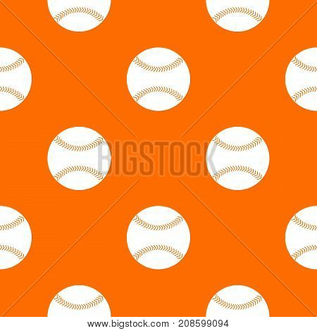 Baseball pattern repeat seamless in orange color for any design. Vector geometric illustration
