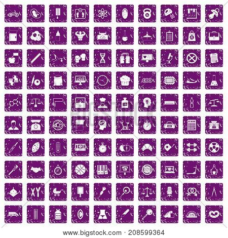 100 libra icons set in grunge style purple color isolated on white background vector illustration