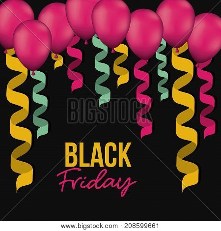 black friday poster with colorful decorative spiral ribbons and magenta balloons in black color background vector illustration