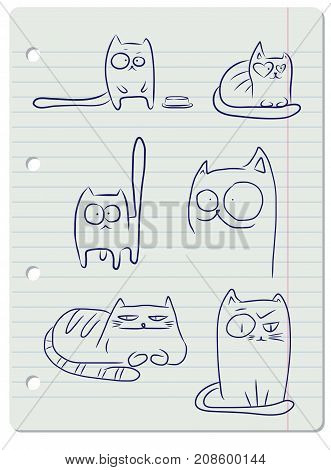 Hand drawn sketches of funny cats on a sheet of notebook paper.