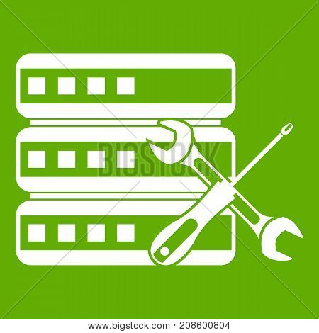 Database with screwdriver and spanner icon white isolated on green background. Vector illustration