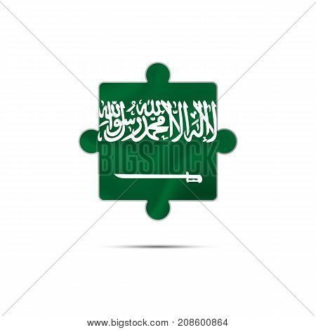 Isolated piece of puzzle with the Saudi Arabia flag. Vector illustration.