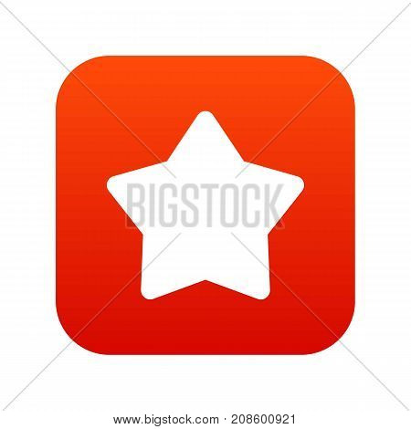 Star icon digital red for any design isolated on white vector illustration