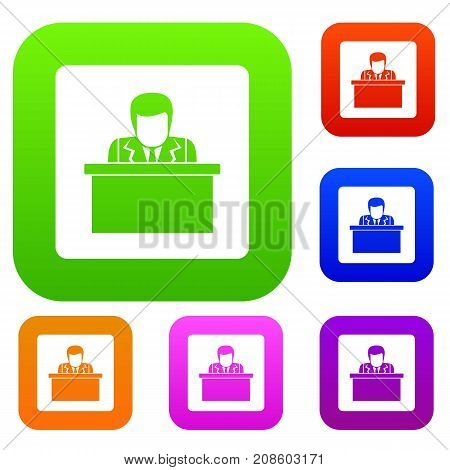 Orator speaking from tribune set icon color in flat style isolated on white. Collection sings vector illustration