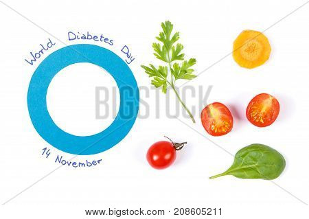 Blue Circle Of Paper As Symbol Of World Diabetes Day And Fresh Vegetables, Healthy Nutrition During