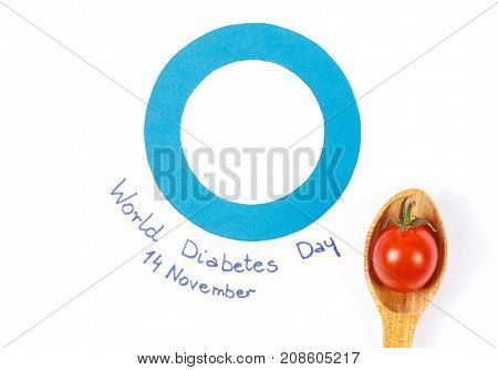 Blue Circle As Symbol Of Fighting Diabetes And Ripe Tomato On Spoon, Healthy Nutrition Concept