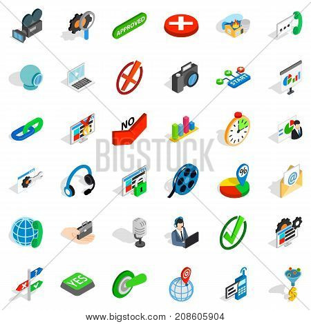 Science exploration icons set. Isometric style of 36 science exploration vector icons for web isolated on white background