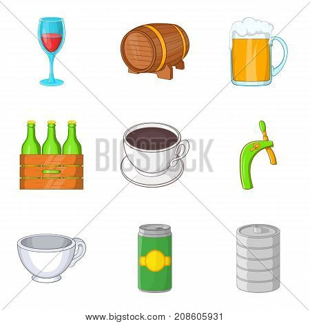 Draft beer icons set. Cartoon set of 9 draft beer vector icons for web isolated on white background