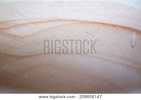Closeup Of Empty Of Coffee Cup With Coffee Stains.