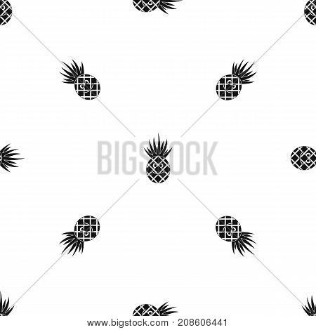 Smiling pineapple pattern repeat seamless in black color for any design. Vector geometric illustration