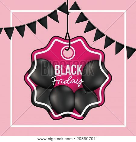 background with white frame and pink background with black festoons with pendant flower shape tag of black friday offer with black balloons and magenta backdrop vector illustration