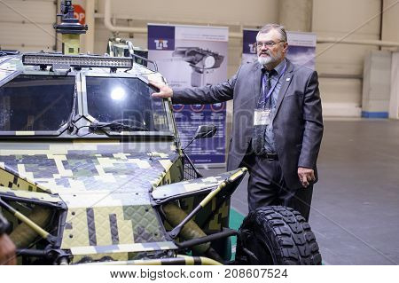 Military Armored Buggy Of Ukrainian Production With The Developer At The Exhibition