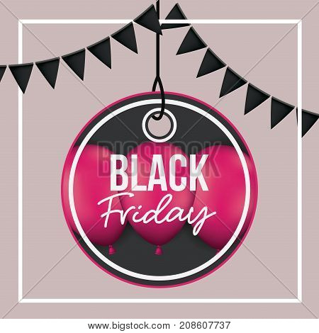 background with white frame and thistle color background with black festoons with pendant circular tag of black friday offer with magenta balloons and black backdrop vector illustration