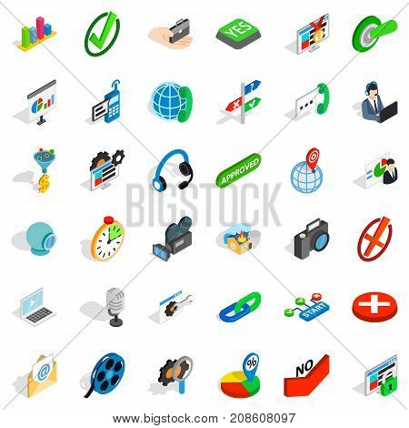 Asking icons set. Isometric style of 36 asking vector icons for web isolated on white background