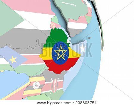 Ethiopia With Flag On Globe