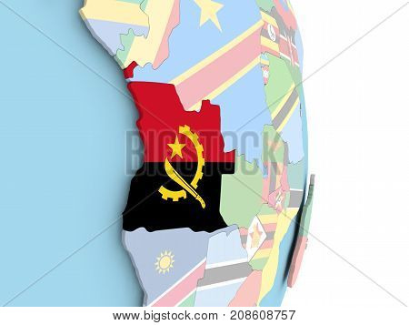 Angola With Flag On Globe