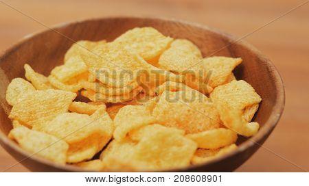 Eating cheese crisp