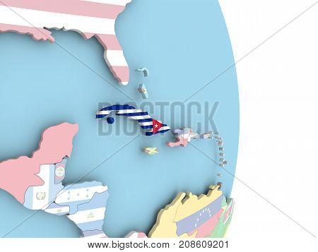 Cuba With Flag On Globe
