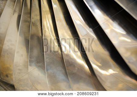 Turbojet Engine Blades Close-up In Warm Light Shine
