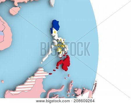 Philippines With Flag On Globe