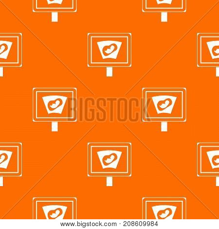 Ultrasound of baby in mother womb pattern repeat seamless in orange color for any design. Vector geometric illustration