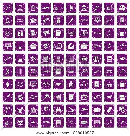 100 magnifier icons set in grunge style purple color isolated on white background vector illustration
