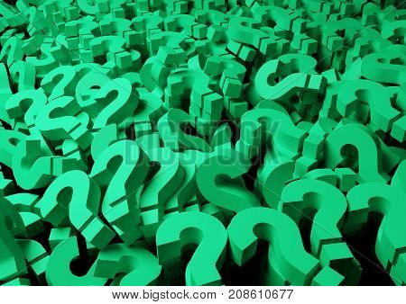 closeup stacking of question marks, 3D rendering