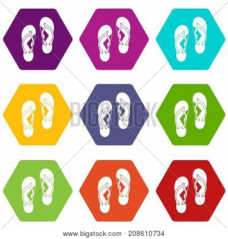 Flip flop sandals icon set many color hexahedron isolated on white vector illustration