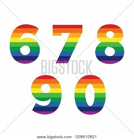 Set of 5 numbers with rainbow stripes - gay equality