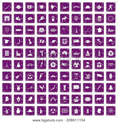 100 map icons set in grunge style purple color isolated on white background vector illustration