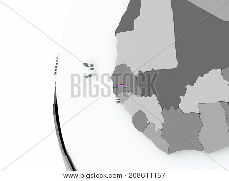 Gambia On Globe With Flag