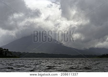 Arenal Volcano Hiding in the Clouds in Costa Rica