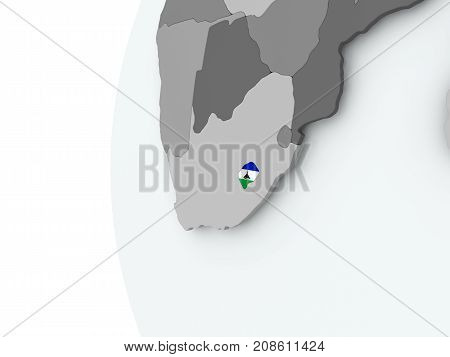 Lesotho On Globe With Flag