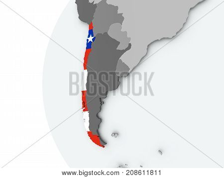 Chile On Globe With Flag