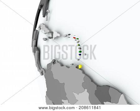 Caribbean On Globe With Flag