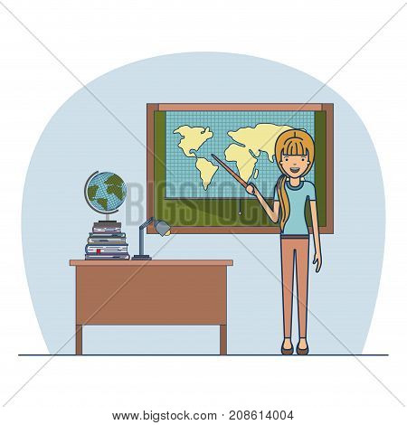 woman teacher with blonded ponytail on classroom with desk with stack of books and chalkboard with world map vector illustration