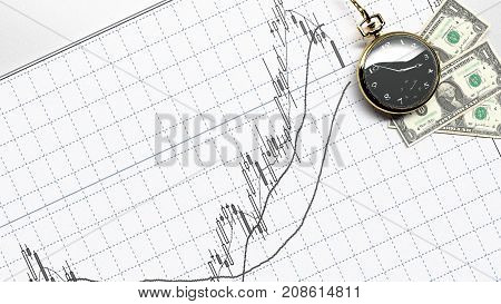 Money and Statistic index graph of stock market financial indices analysis 3d rendering time investment trading risk control
