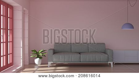 Pink living room 3d illustration and empty sofa and sunlit concept clean modern apartment
