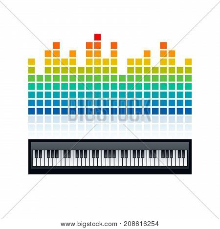 Square dots shaped equalizer and piano keyboard design. Vector illustration template.