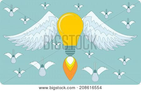 Bulb icon with eureka concept. Stock flat vector illustration.