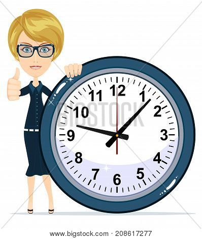 Beautiful female with clock. Stock vector illustration for poster, greeting card, website, ad, business presentation, advertisement design.