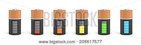 3d rendering of six C type batteries with charge indicators in different stages of energy levels. Maximum charge. Depleted batteries. New and old portable power.